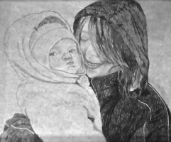 A sketch of my baby sister and I.
