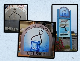 This is a digital illustration I did for The Ice House Gift Shop sign located on Brier Island. To the left is what they came in with and the middle picture is what I came up with. to keep similar to their previous sign. On the right is a picture of where the sign is displayed.