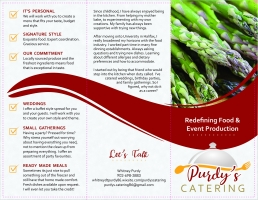 Purdy's Catering brochures outside pages mock up