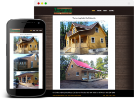 Thurber Log Cabin Shell Materials website was built to showcase some of the cabins that they've built, as well as give pricing and contact information.
